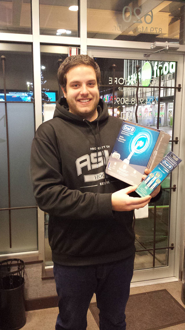 Our November 2014 Winner of an Oral B Toothbrush from your North Vancouver Dentist.