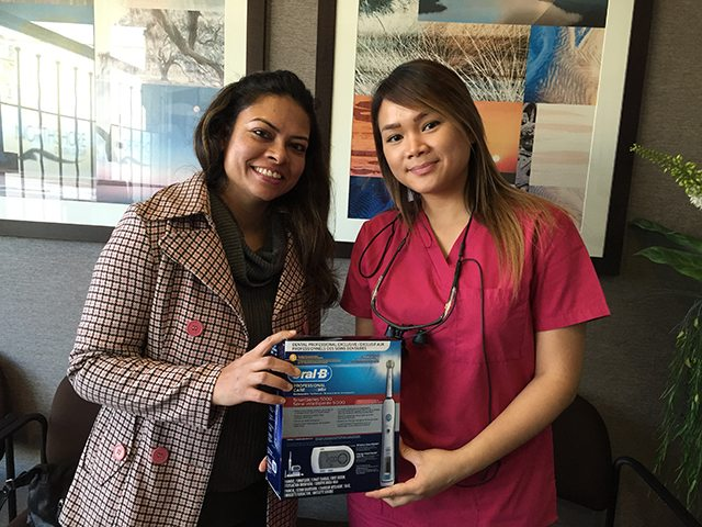 Our January 2015 Winner of an Oral B Toothbrush from your North Vancouver Dentist.