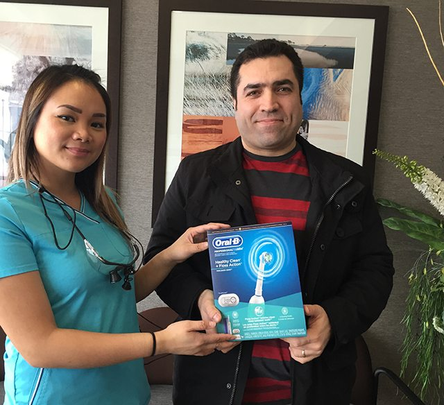 Our February 2015 Winner of an Oral B Toothbrush from your North Vancouver Dentist.
