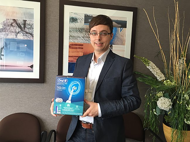 Our March 2015 Winner of an Oral B Toothbrush from your North Vancouver Dentist.