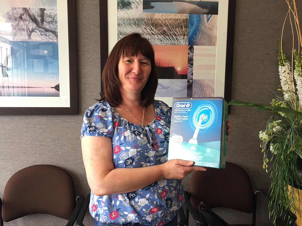 Our May 2016 Winner of an Oral B Toothbrush from your North Vancouver Dentist.